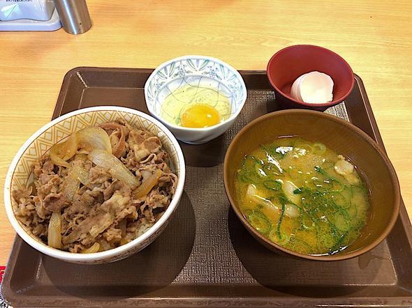 すき家 おゆみ野店/牛丼(並盛り)カレーとん汁たまごセット