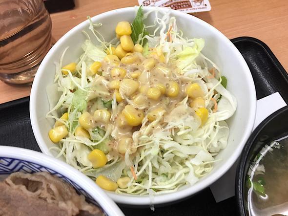 吉野家 青山一丁目店/牛丼並盛りランチセット サラダ