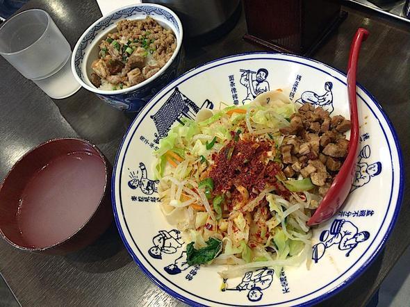 西安麺荘 秦唐記/油泼麺/ヨウポー麺 + ミニ牛肉そぼろ丼