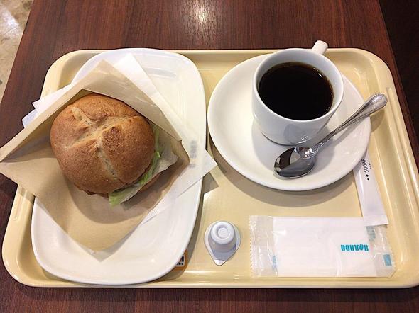 ドトールコーヒーショップ/DOUTOR COFFEE 築地聖路加通り店/全粒粉サンド 大豆ミート ~和風トマトのソース~ + ブレンドコーヒー