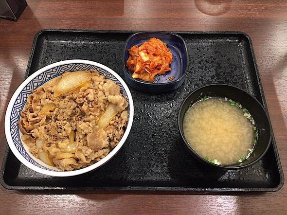 吉野家 新富町店/牛丼(並) + キムチみそ汁セット