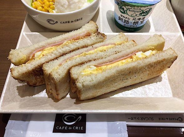 カフェ・ド・クリエ/CAFE de CRIE 築地聖路加通り店/トーストサンドモーニング ハムタマゴ