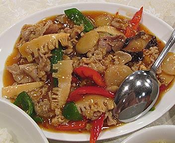 中華料理 天天飯店/玉香肉片/ブタ肉の四川風炒め